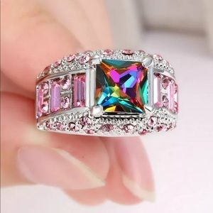 Mystic Rainbow Topaz Silver Plated Ring Size 8 NEW
